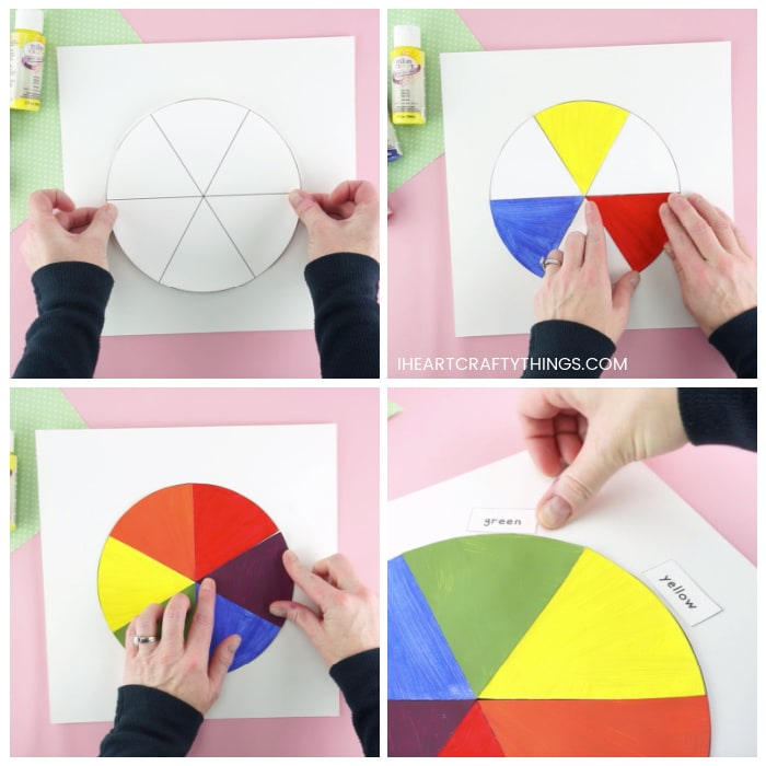 Four image collage showing someone gluing the color wheel template on a piece of white cardstock paper, how to glue each color section on the wheel and someone gluing the color names around the wheel.