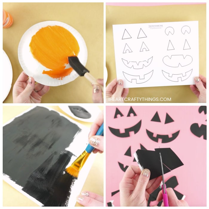 Four image collage showing adult painting bottom of paper bowl with orange paint, painting the back of pumpkin faces template with black paint and then cutting out the face pieces when dry.