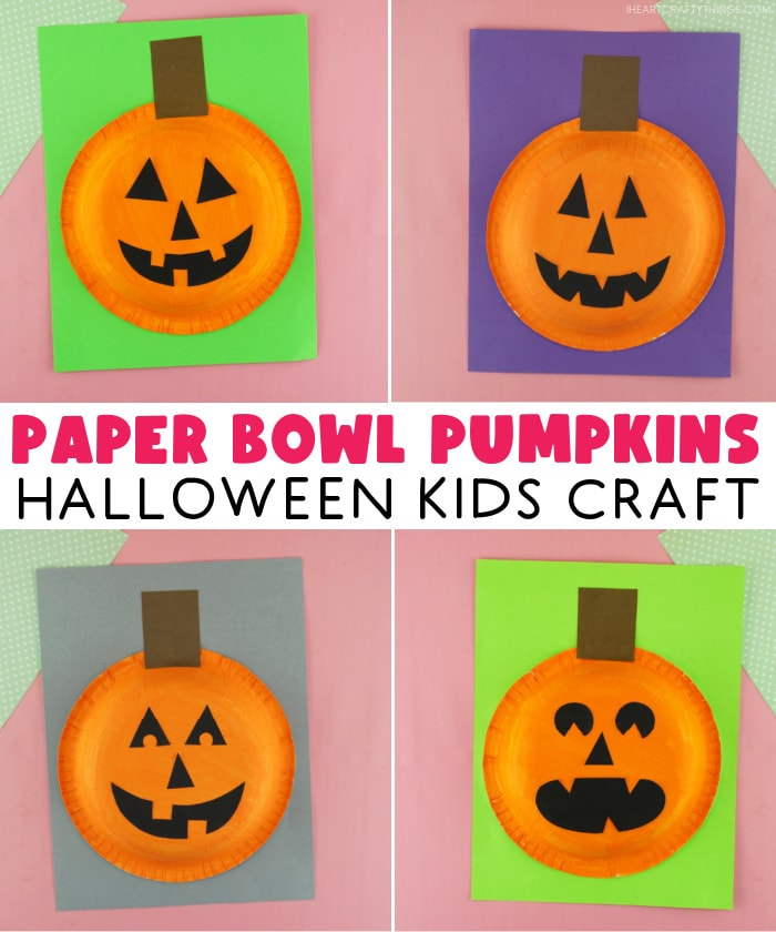 "Four image collage showing four different versions of the pumpkin craft with the words ""Paper Bowl Pumpkins Halloween Kids Craft"" in the center."