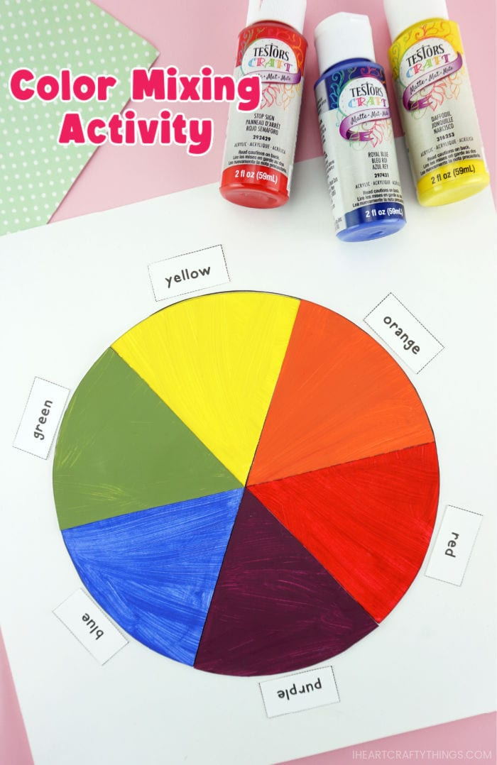 """Vertical close up image of finished color wheel activity with red, blue and yellow bottles of paint laying in the top right corner and the words """"Color Mixing Activity"""" in the top left corner."""