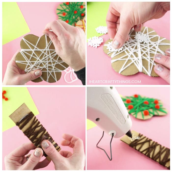 Four image collage showing adult wrapping the white yarn around the cardboard tree top, placing white snowflake stickers on the tree top, wrapping the brown yarn around the cardboard tree trunk and then gluing the tree together.