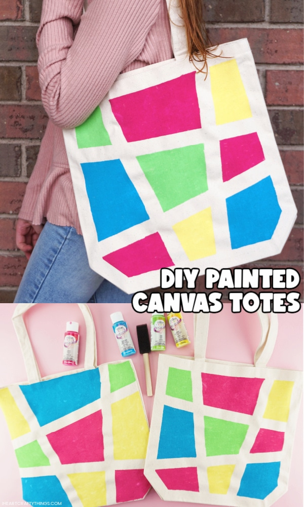 """Two image vertical collage with girl carrying the finished painted bag on the top and two painted canvas bags laying side by side in the bottom. Words """"DIY Painted Canvas Totes"""" in the middle right of image."""