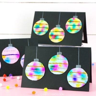 Hanging Ornaments Christmas Card with Crayola Paper Maker