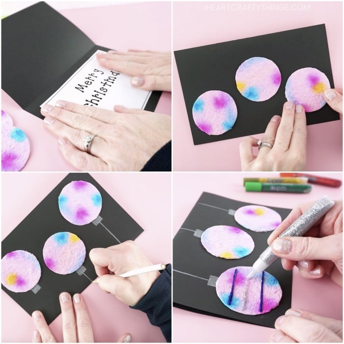 Four image collage showing an adult gluing the printable greeting card message inside the black greeting card, then gluing the diy paper scissors on the front of the card, drawing lines down from the circles to make them look like hanging ornaments, and adding Crayola glitter glue onto the ornaments.