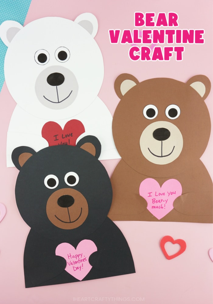 """Vertical image of polar bear, black bear and brown bear Valentine crafts laying next to each other with the text """"Bear Valentine Craft"""" in the top right corner."""