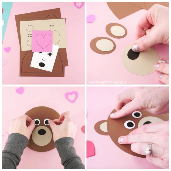 Four image collage showing the printed out bear craft template and an adult gluing the pieces together to make the bear Valentine craft.