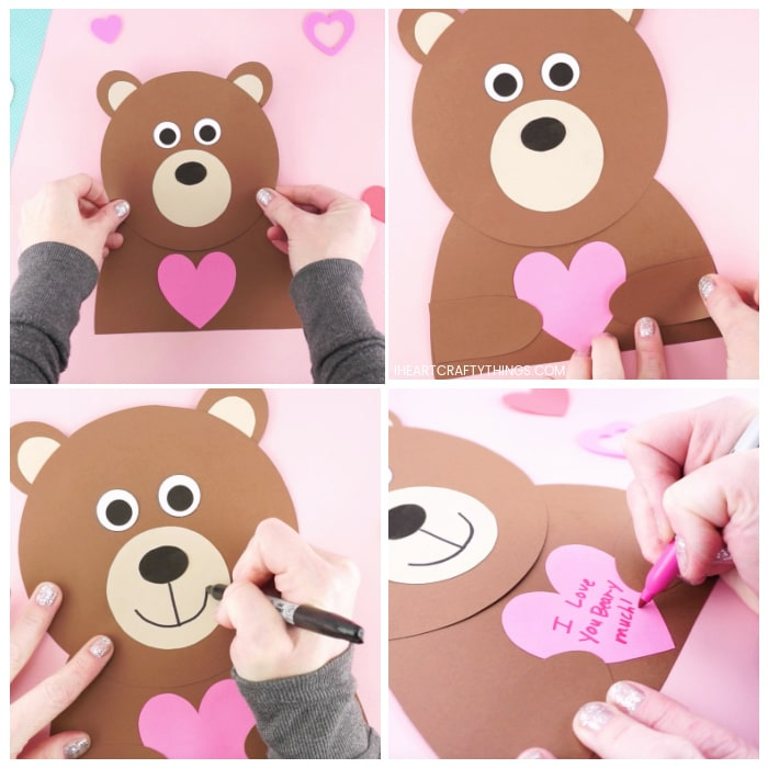 Four image collage showing adult gluing together the pieces of the template to make their bear and then using markers to draw a mouth and message on the heart.