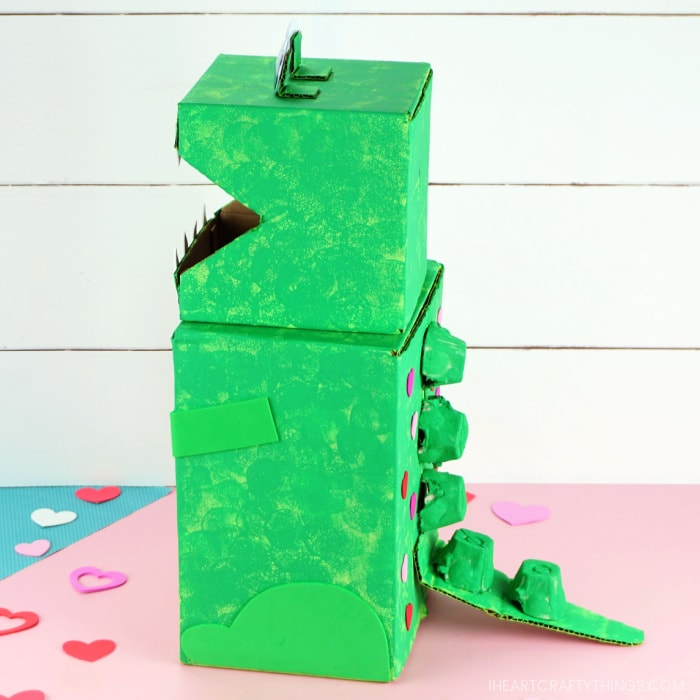 Side view angle of finished Dinosaur Valentine's box.
