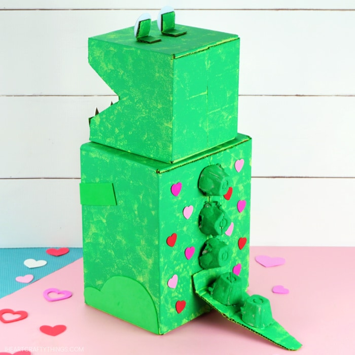 Image showing back view of the finished dinosaur Valentine's box.