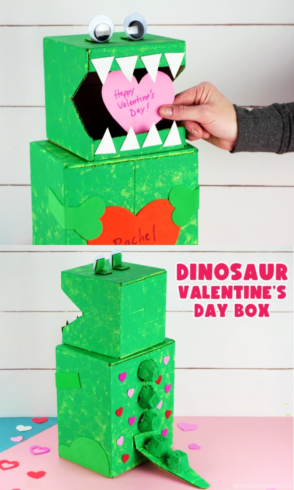 Vertical two image collage with top picture showing someone putting a Valentine in the dinosaur box and bottom image showing side and back view angle of the dinosaur Valentine's box.