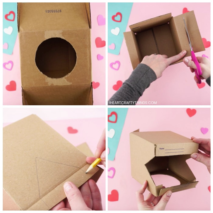 Four image collage showing how to cut the two boxes to make the dinosaur Valentine's box.