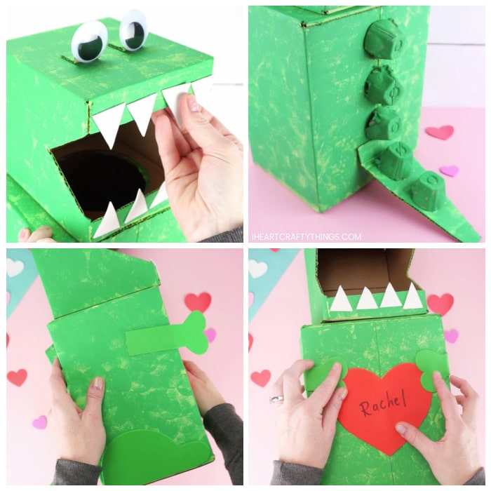 Four image collage showing how to glue all the pieces onto the dinosaur Valentine's box: the eyes, teeth, tail, egg carton pieces, arms, legs and heart.