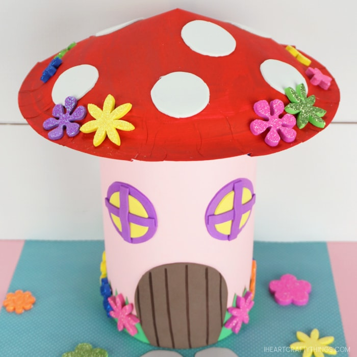 Top angle looking down showing the mushroom roof on the fairy house Valentine box.