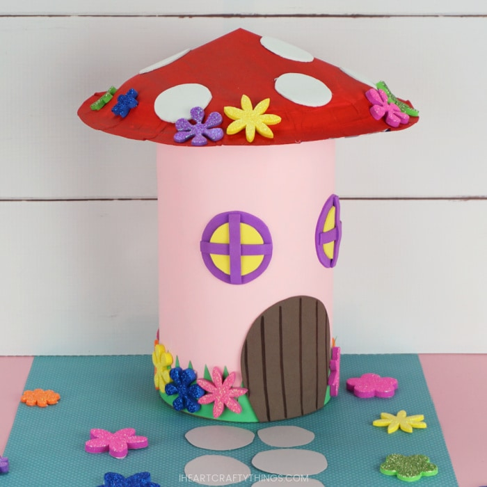 Side angle view of the finished DIY fairy house Valentine box.