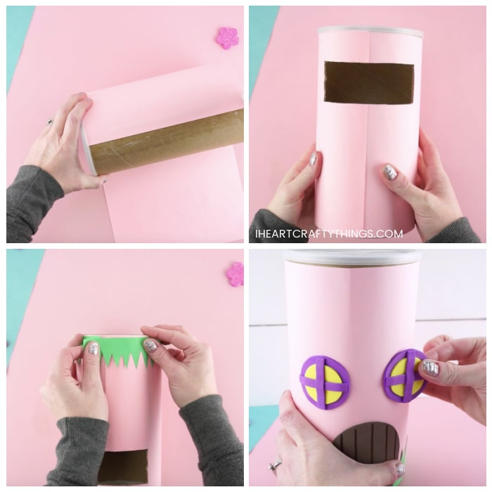 Four image collage showing how to cover the oatmeal container with construction paper, how to cut the hole in the back of the container for a Valentine slot, how to glue grass at the bottom of the container and how to add felt details to the fairy house Valentine box.