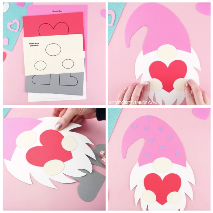 Four image collage showing the printed out template, adult gluing each of the pieces together to make the Valentine gnome craft.
