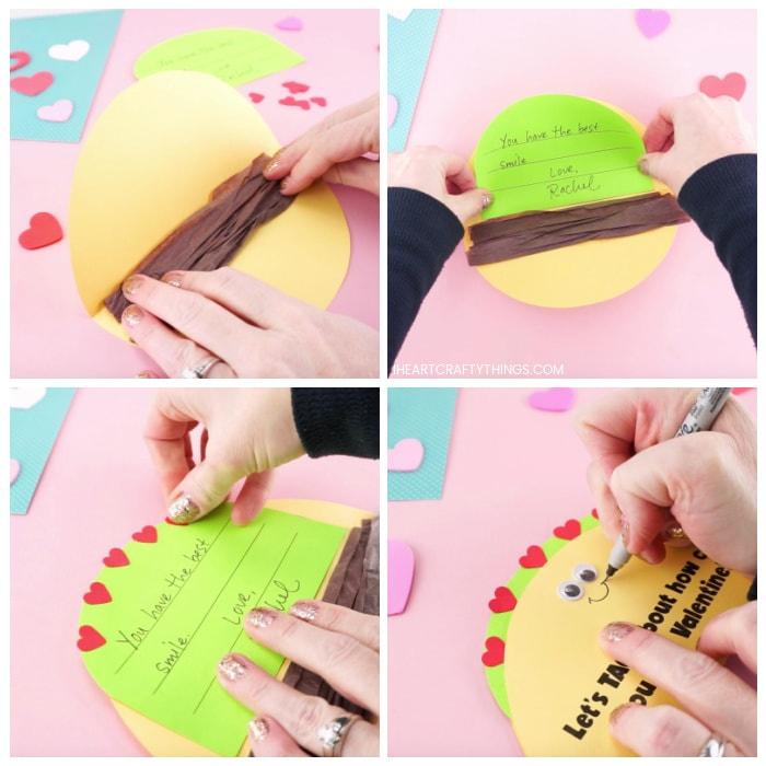 Four image collage showing how to glue the brown tissue paper inside Taco Valentine, how to glue the green lettuce message inside taco, how to glue the small red tomato hearts onto card and how to draw a smile on the front of the taco card.
