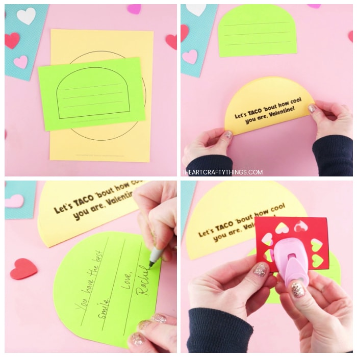 Four image collage showing printed out taco Valentine template, how to fold the taco in half, adult writing message on green lettuce piece and adult cutting out small red hearts from heart punch.