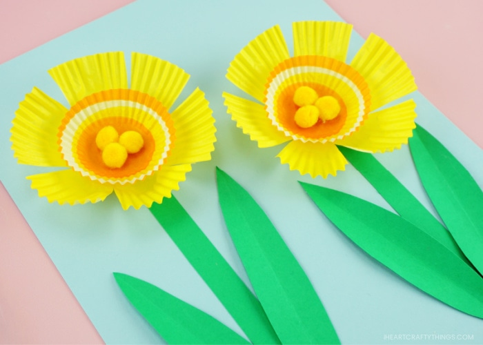 Close up angled view of tops of cupcake liner daffodils.