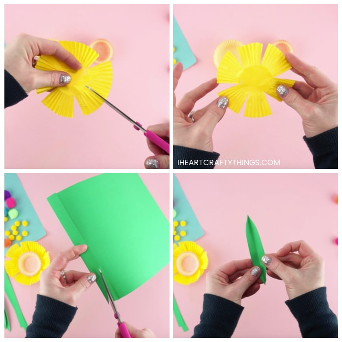 Four image collage showing how to cut slits in the yellow cupcake liner to make daffofil petals and how to cut the leaves out of green cardstock paper.