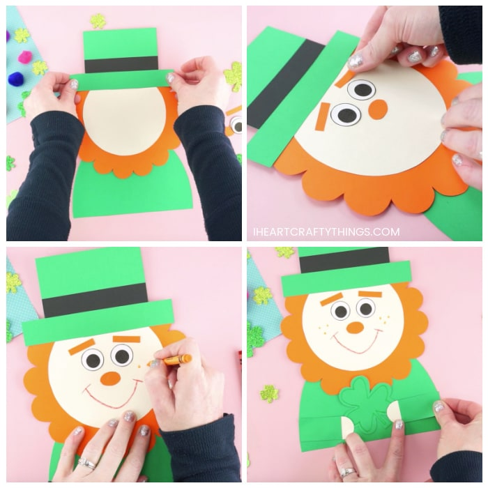 Four image collage showing how to assemble together the template pieces to make your leprechaun craft and then how to add a smile and freckles with crayons.