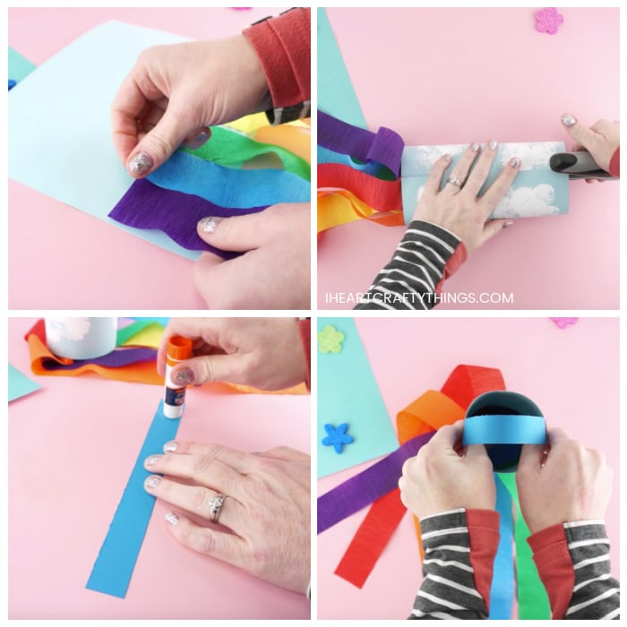 Four image collage showing how to glue the crepe paper rainbow strips onto the back of the windsock, how to staple the windsock into a cylinder shape and how to glue the handle at the top of the windsock.