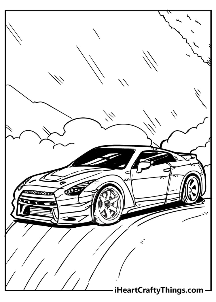 sporty car coloring page