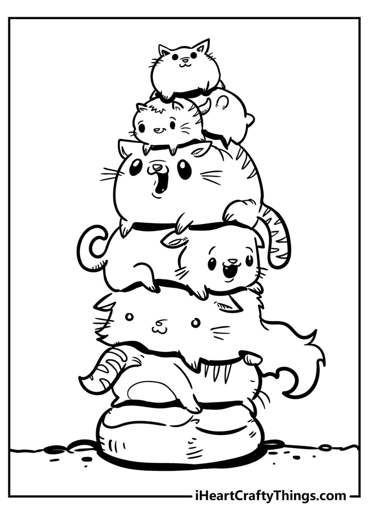 cutest cats printable coloring page