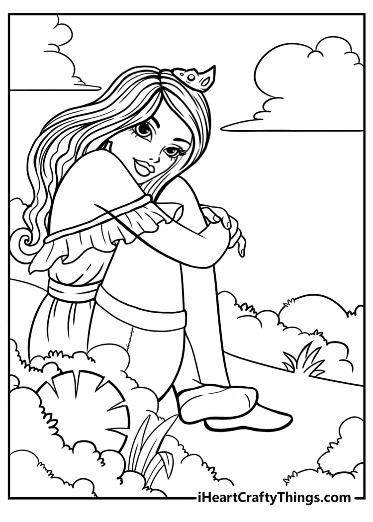 free princess coloring page