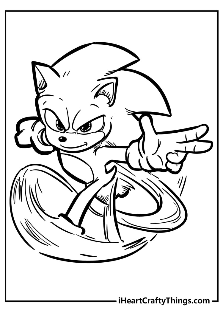 sonic coloring page for kids