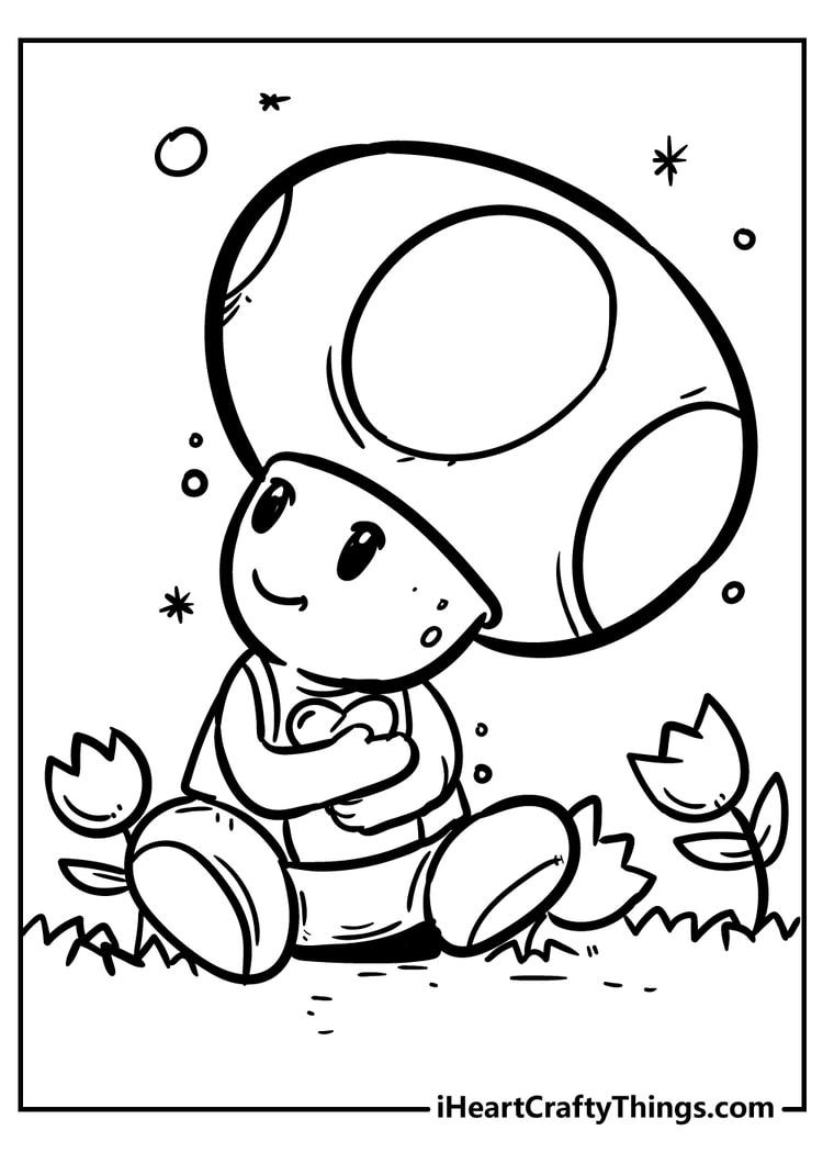 toad super mario coloring page