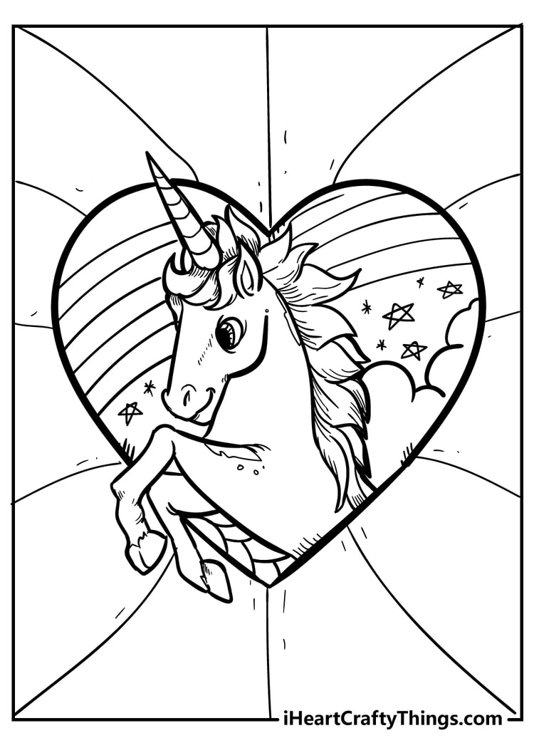 Unicorn Heart Coloring Pages