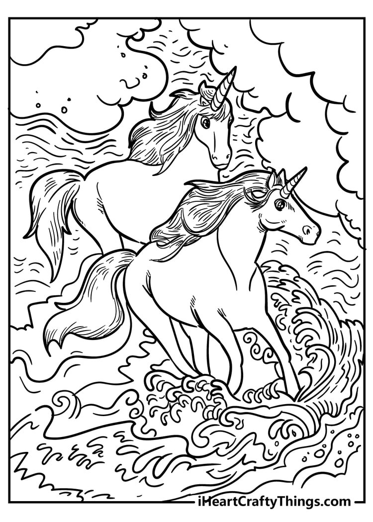 Unicorn Playing in the water