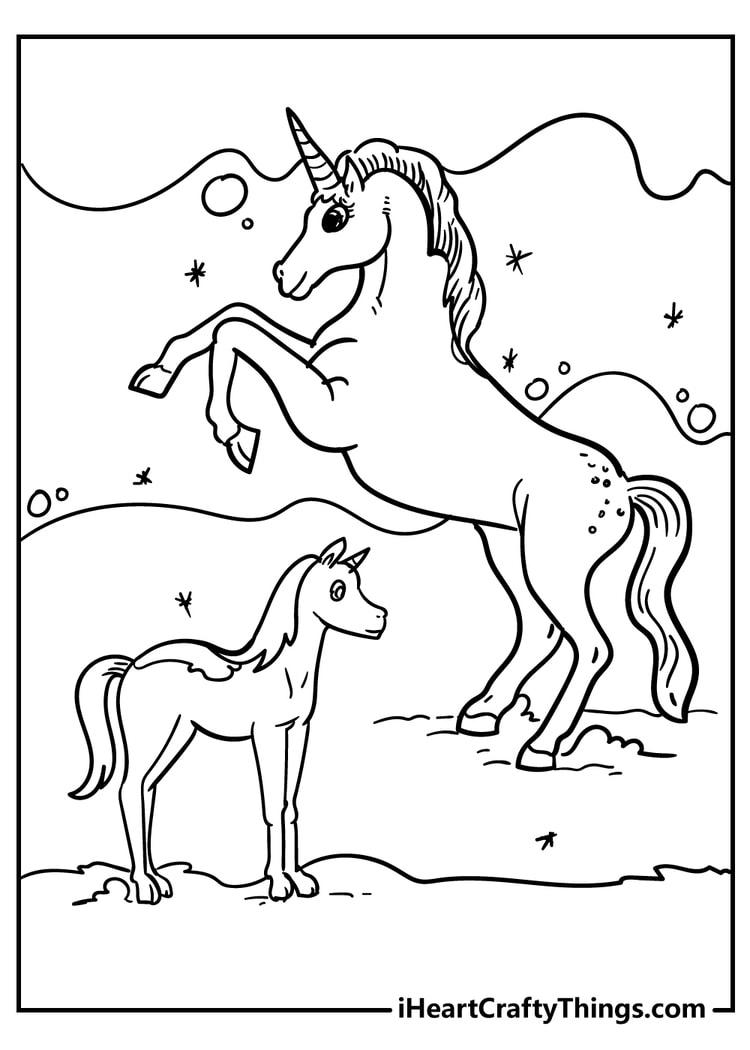 Two unicorns printable