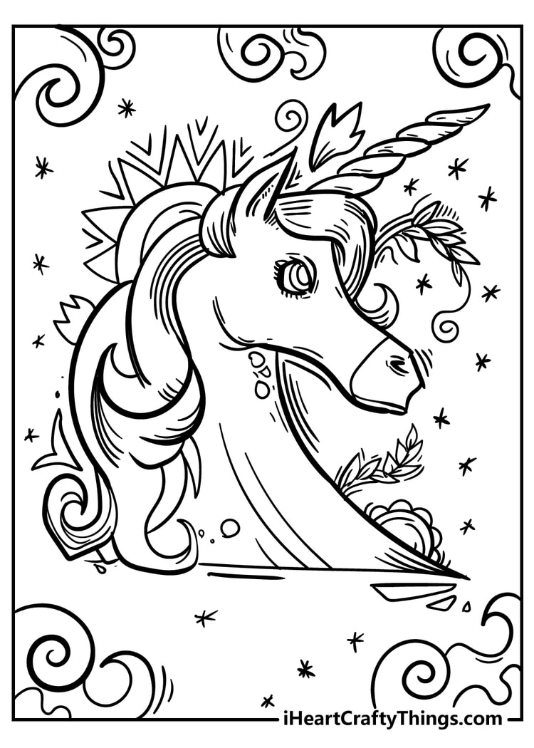 Detailed Unicorn Coloring Page
