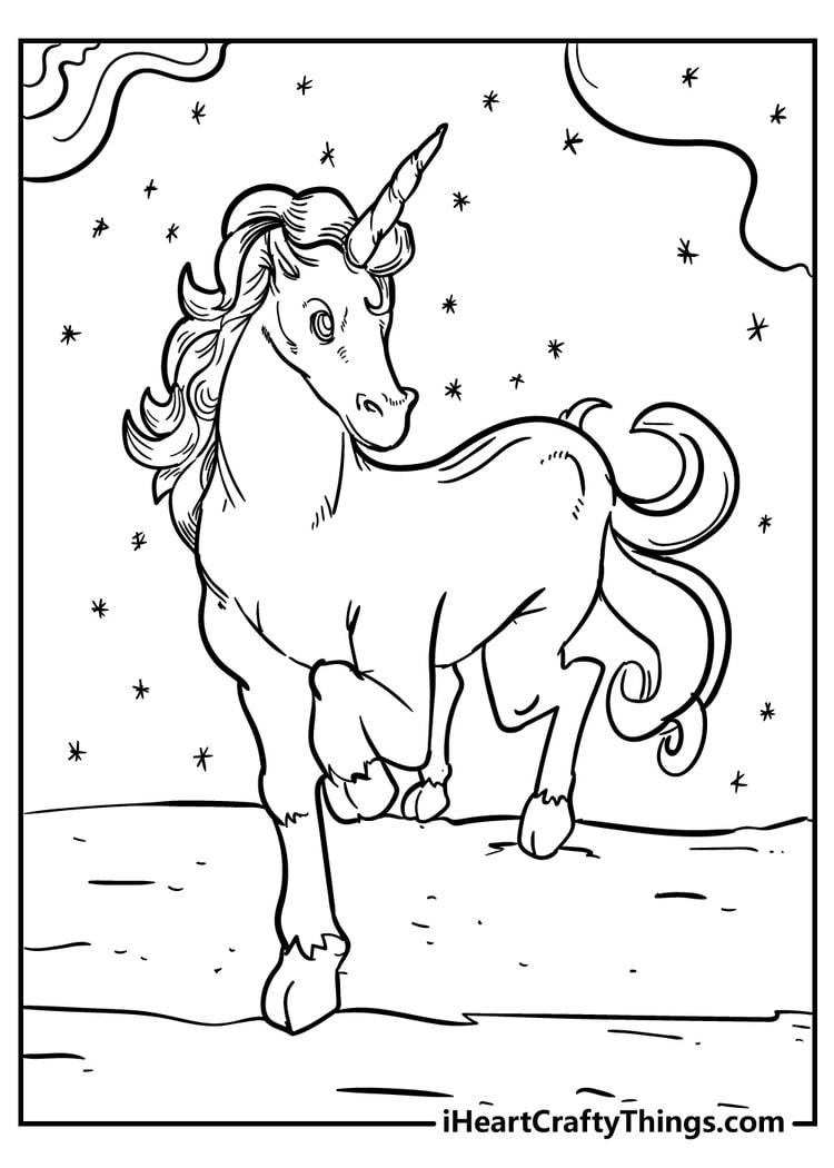 Fantasy Unicorn Coloring Page