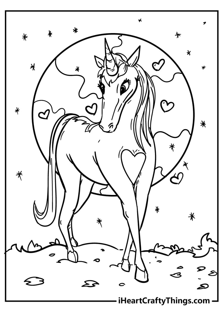 Unicorn Coloring Page with Hearts