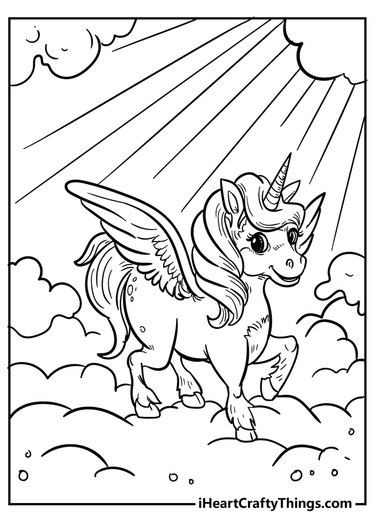Unicorn and Sunshine Coloring Page