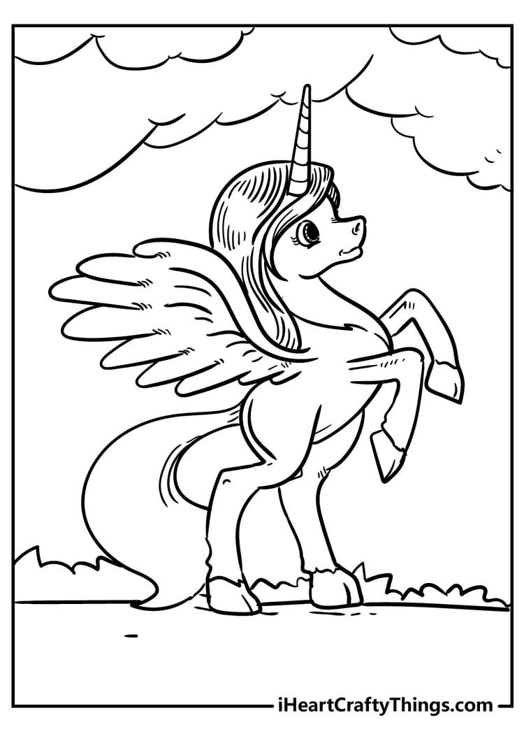 Super Cute Unicorn Coloring Page