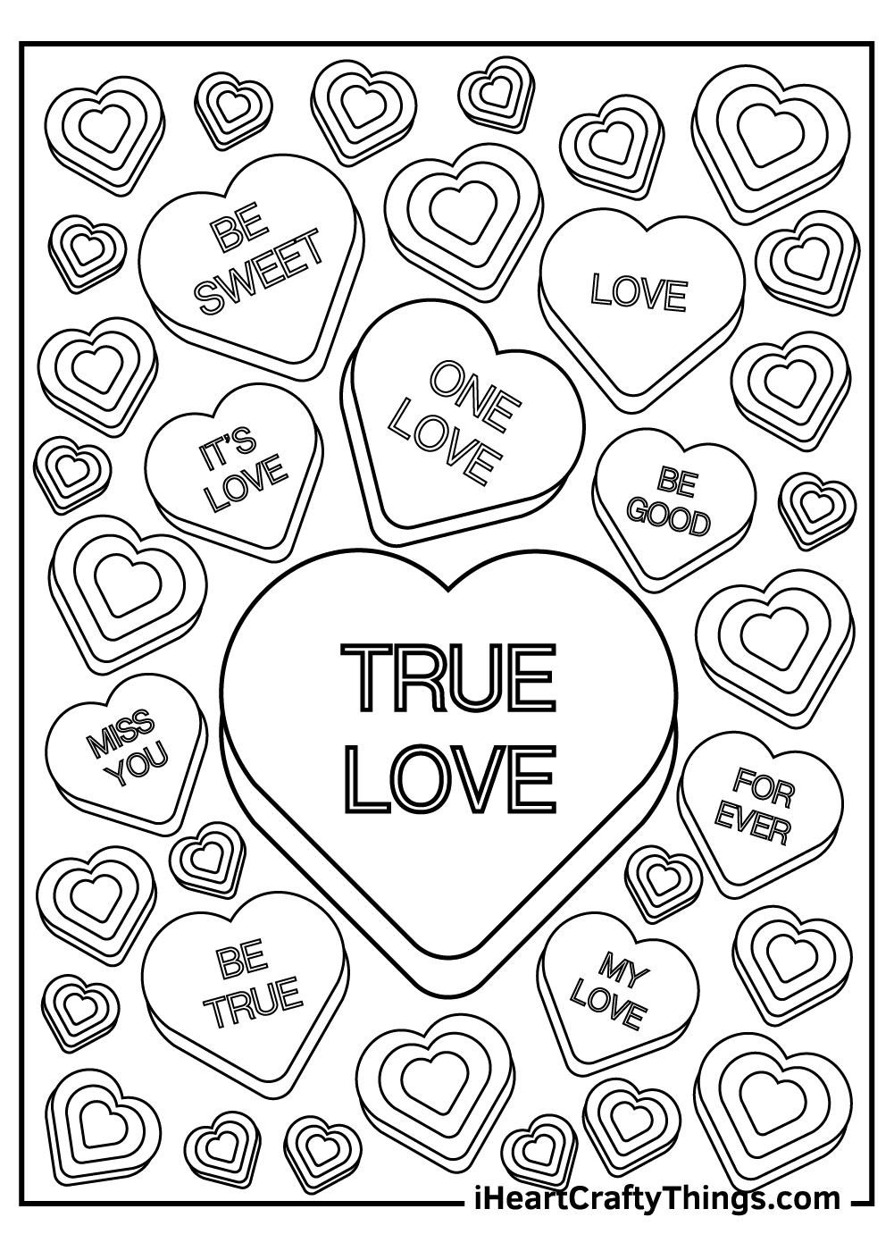 true love candy coloring pages valentines printables