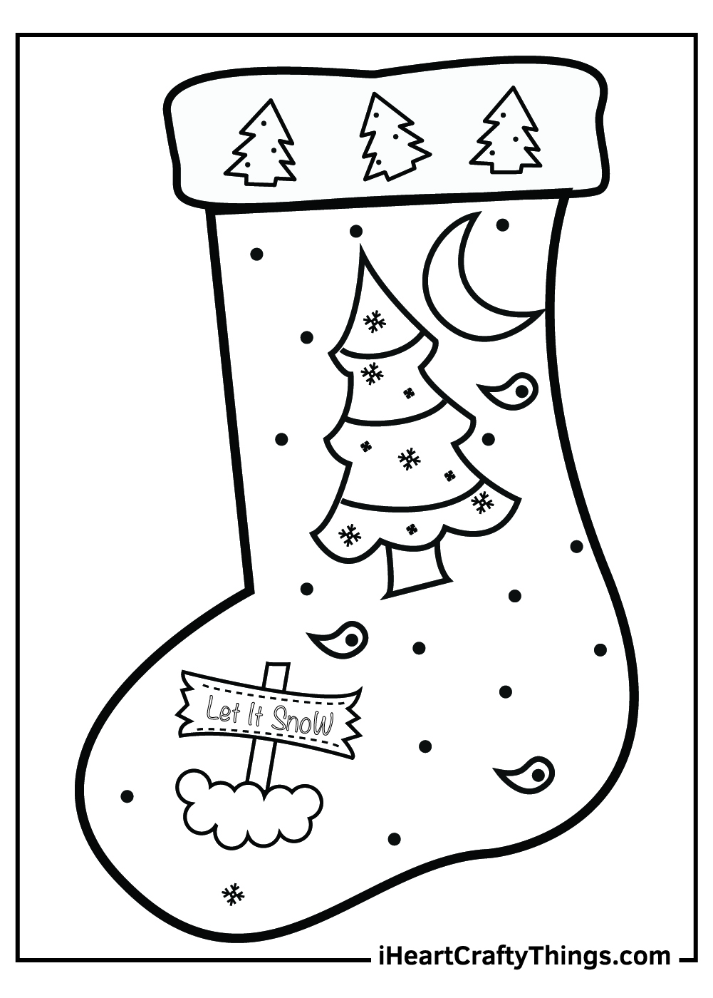 big Christmas tree stocking coloring pages