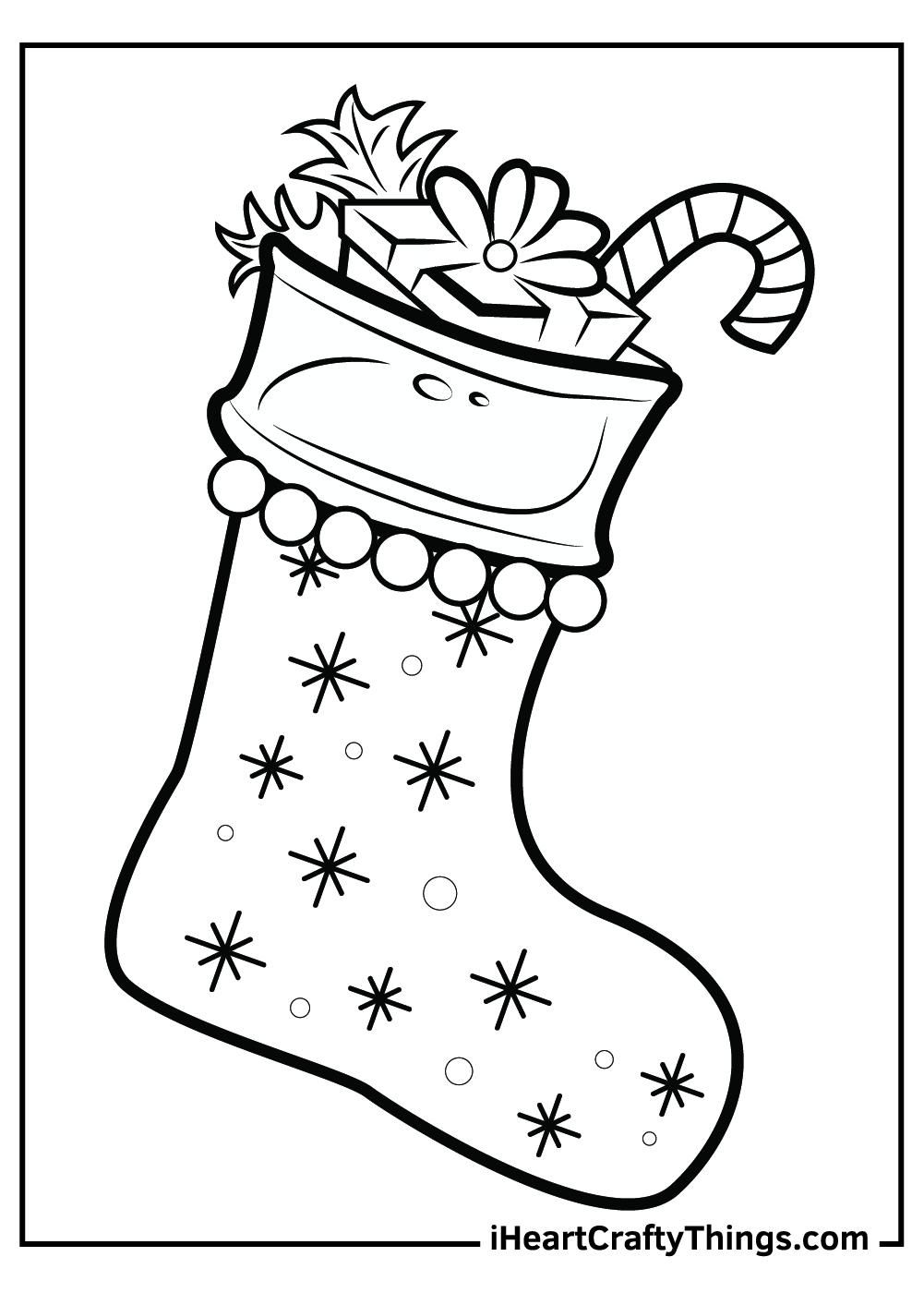 free printable snowflake Christmas stocking coloring sheet