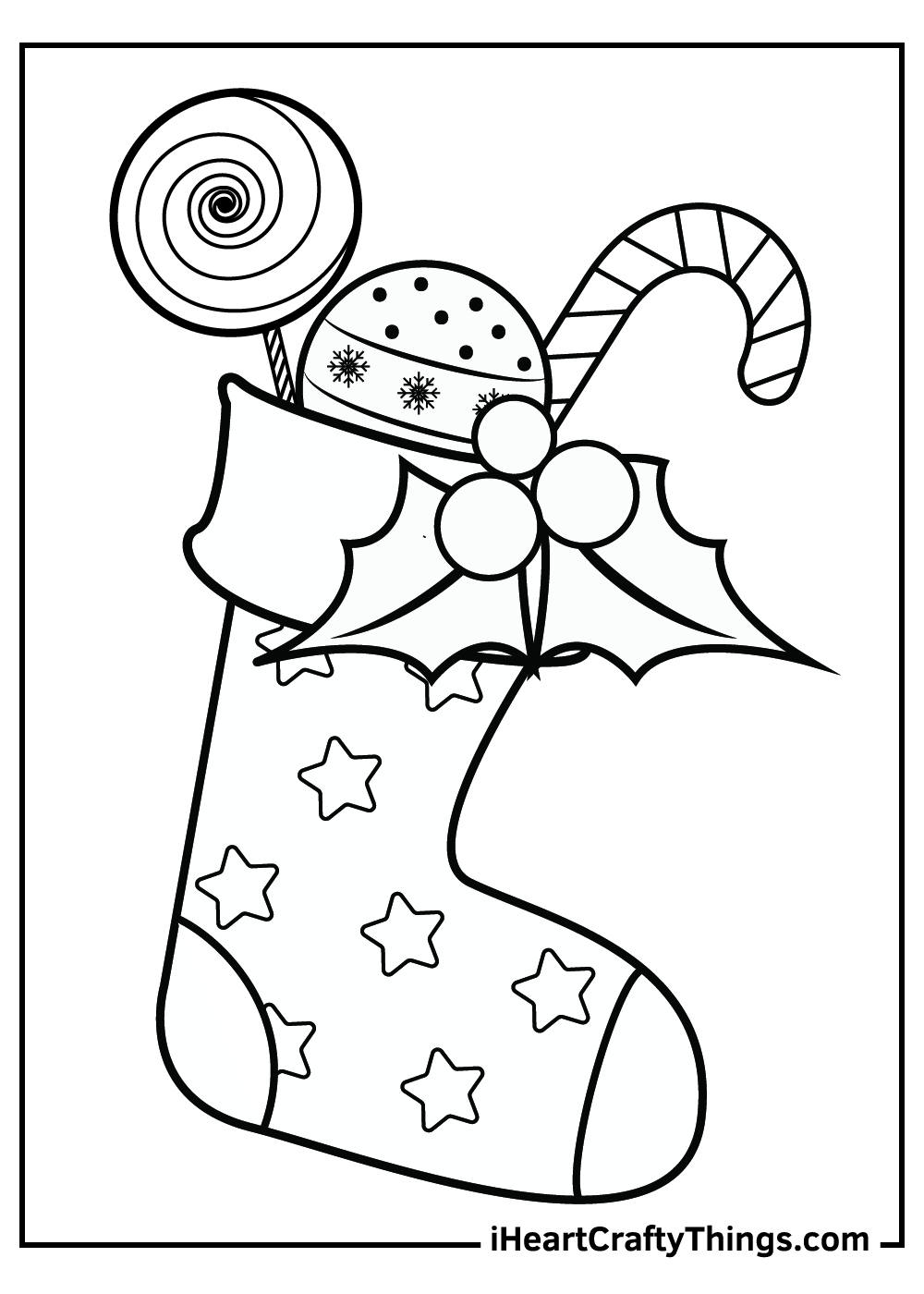 christmas stocking coloring pages with presents