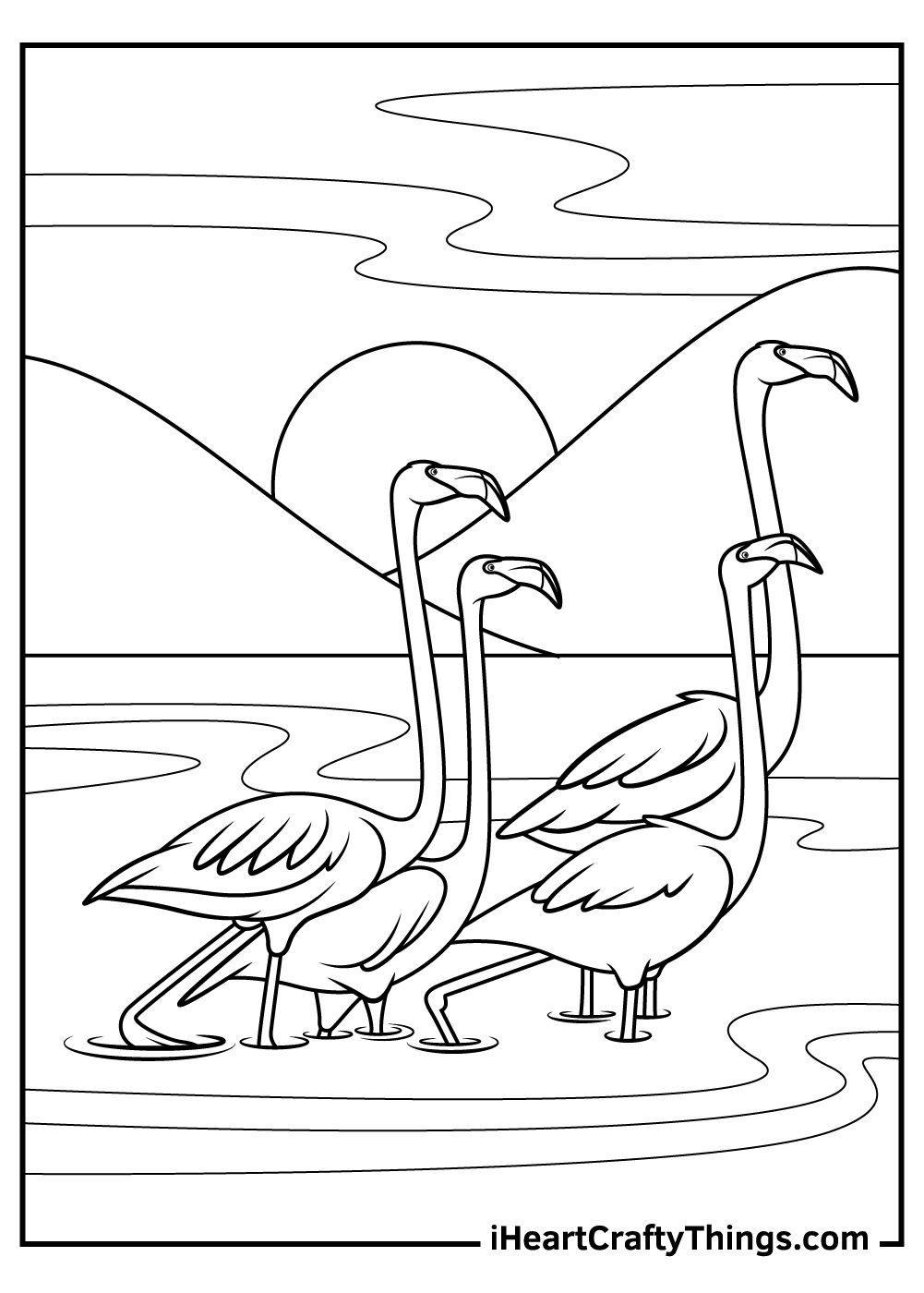 flamingos black and white coloring pages