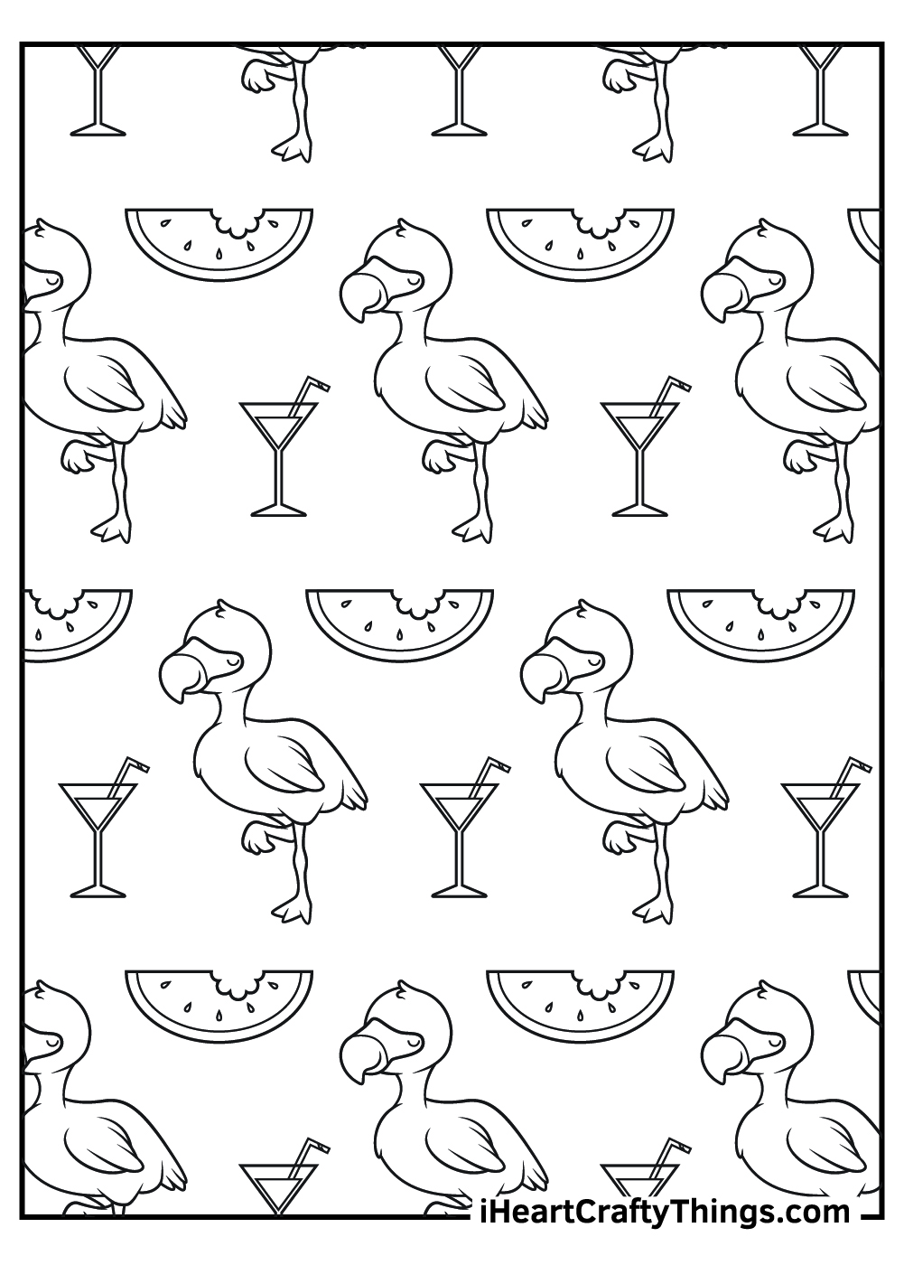 flamingos and watermelons free coloring pages