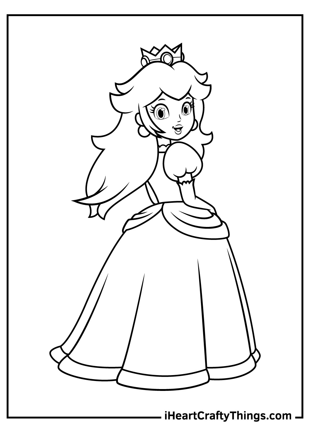 black and white princess peach pdf sheet