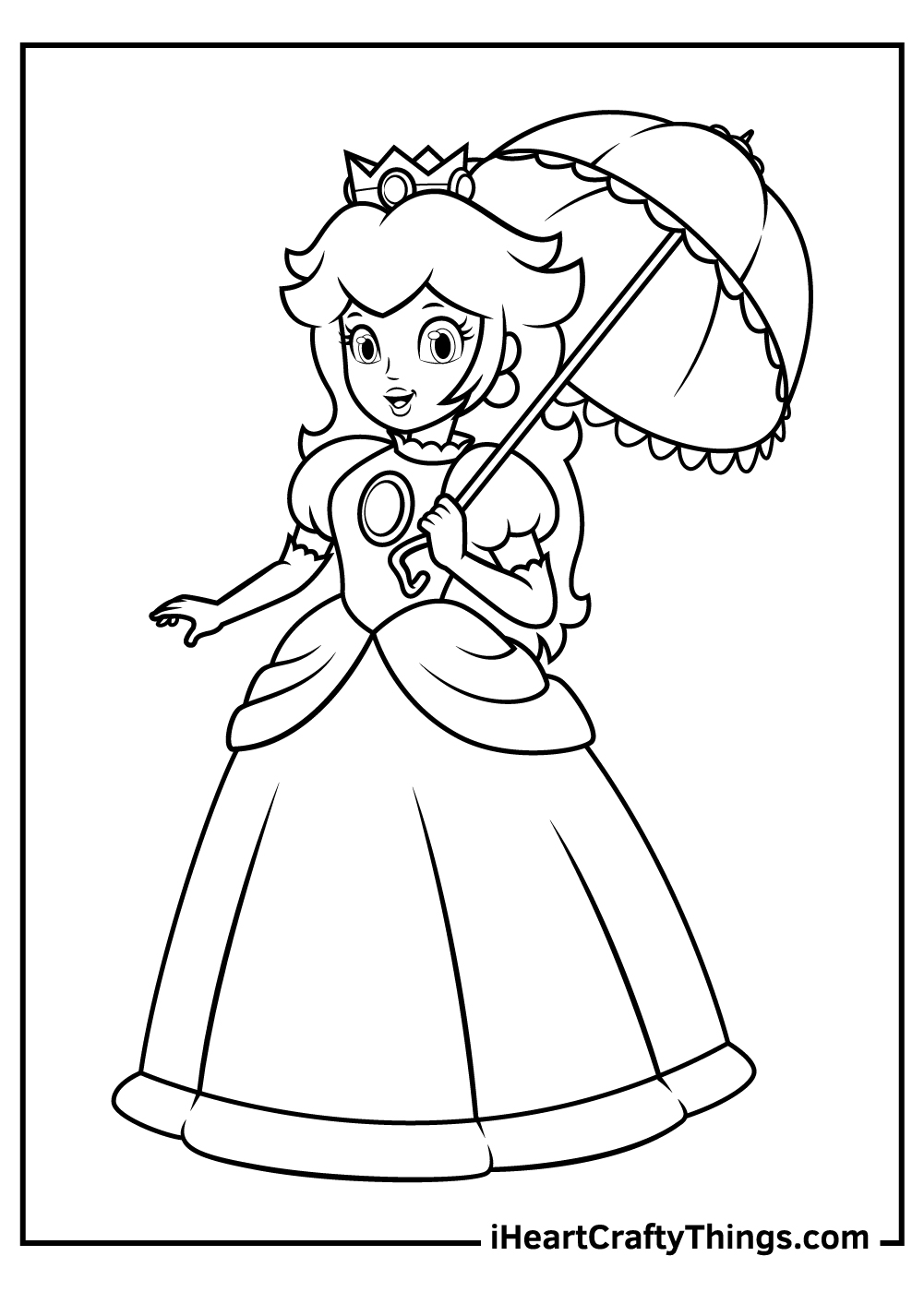 simple princess peach coloring pages free pdf