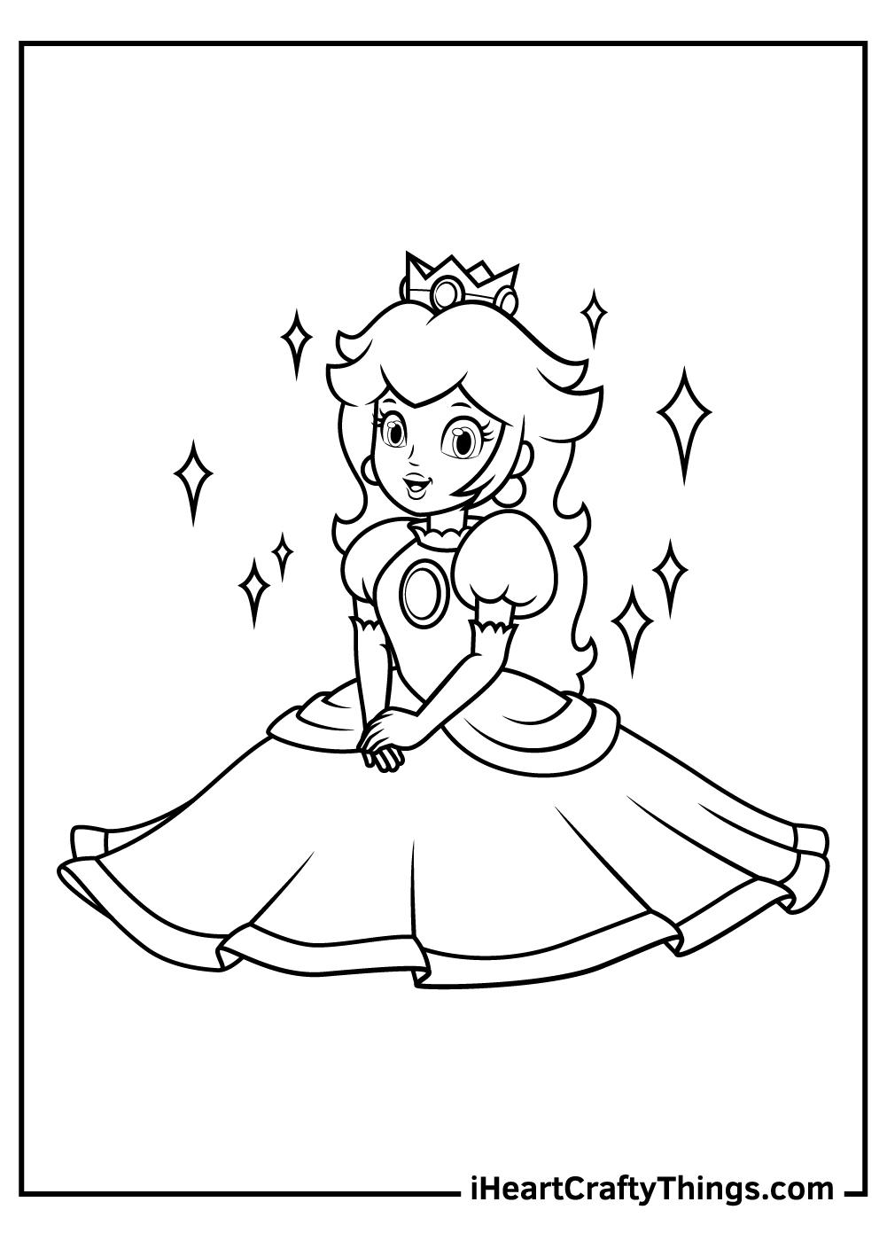 super mario bros princess peach coloring printable pdf