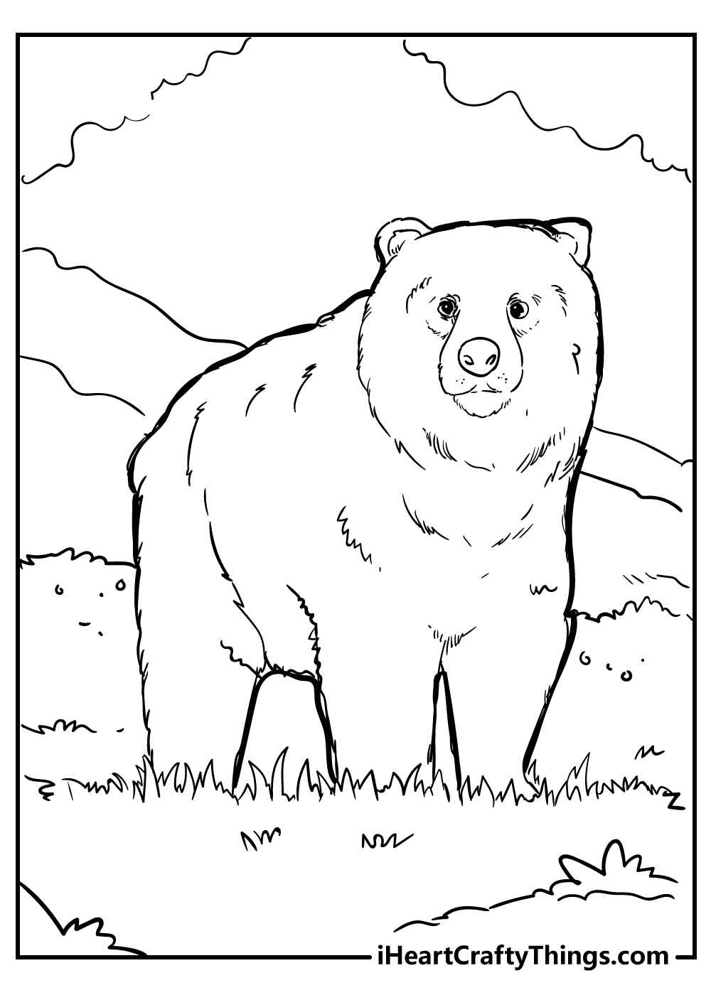 black and white bear coloring pages free download
