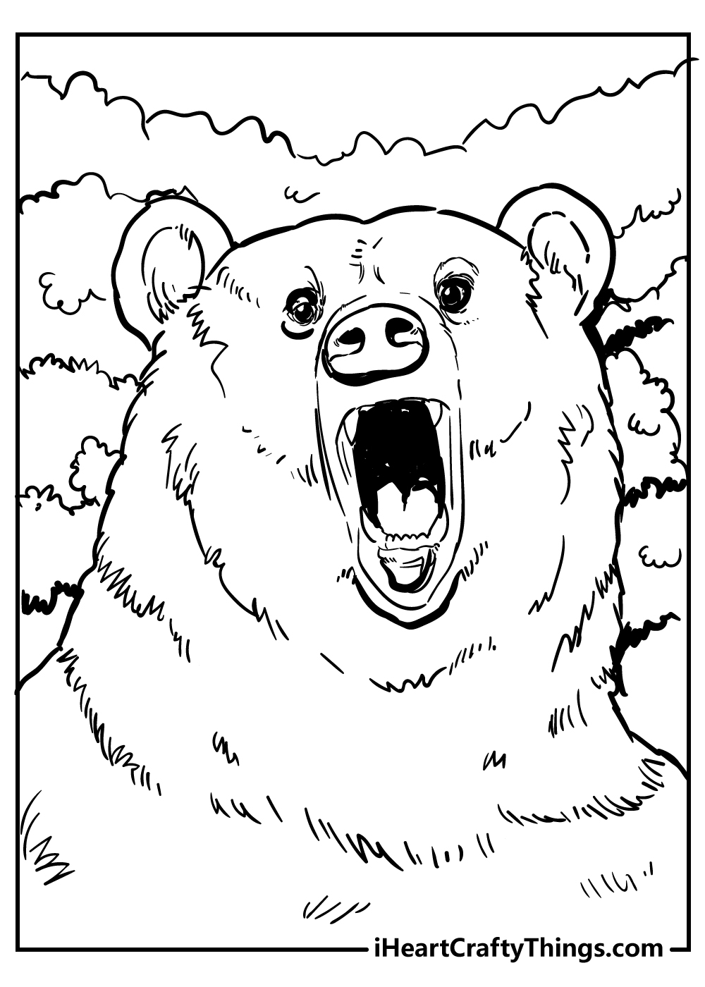 scary bear coloring pages free download